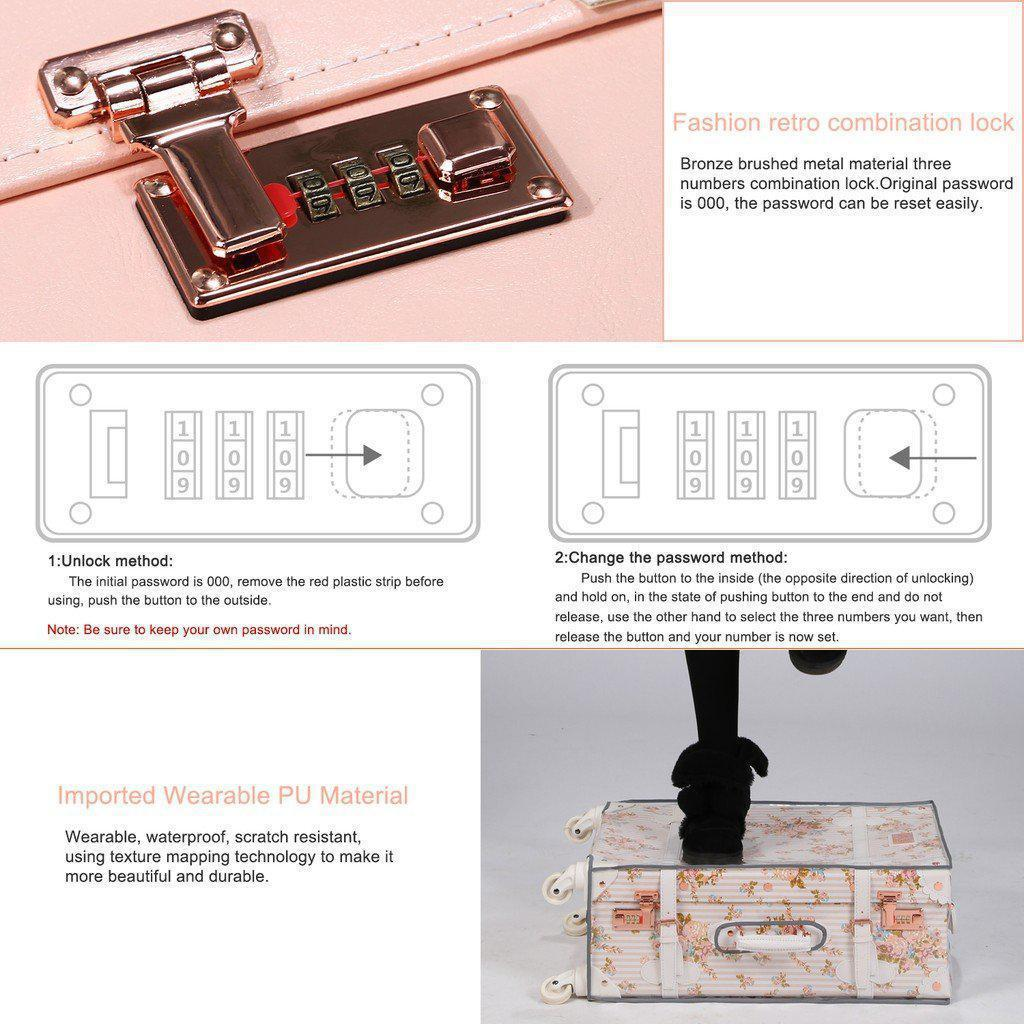Pink luxury travel luggage lock details