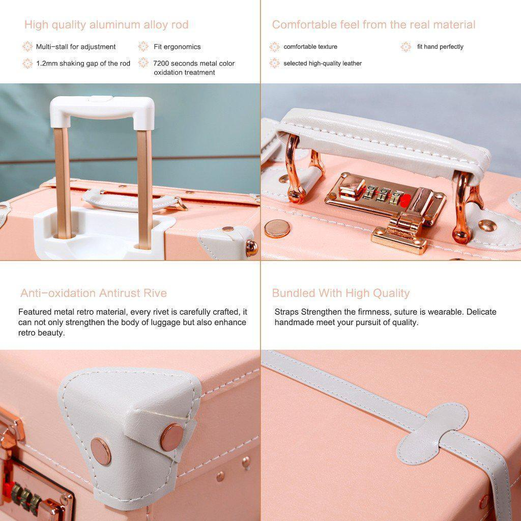 Pink luxury travel luggage handle details
