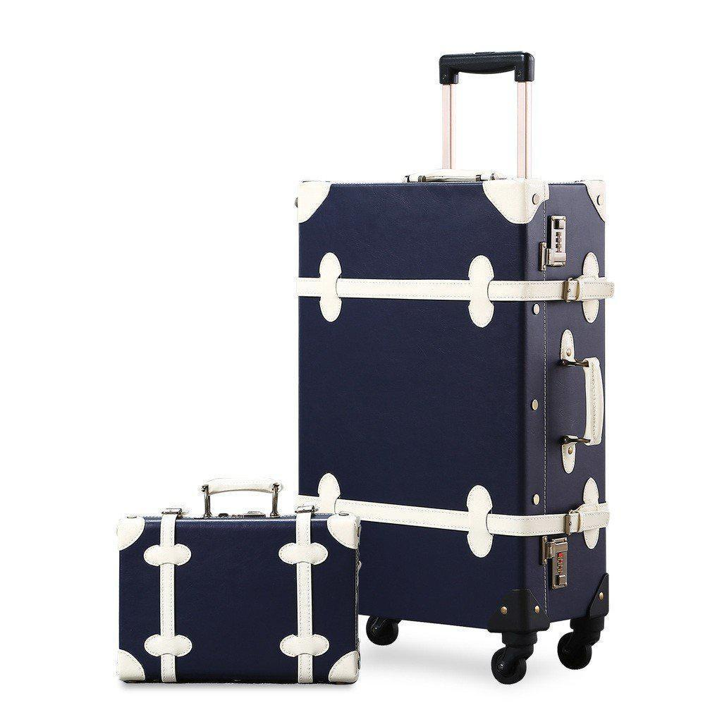 2 Pc Dark blue vintage luggage set