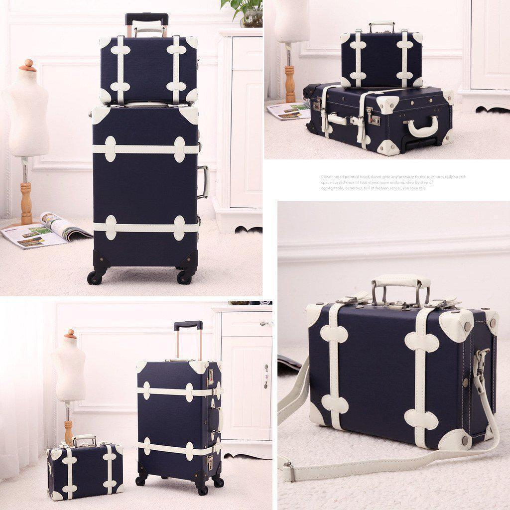 2 Pc Dark blue vintage luggage set in front of different backgrounds