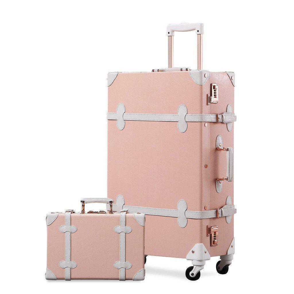 LIght pink luxury travel luggage 2 pc set