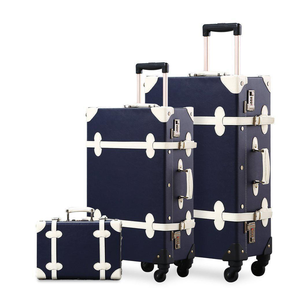 3 Pc Dark blue vintage luggage set