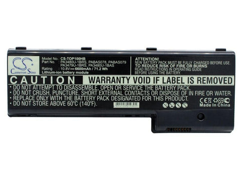 Toshiba Satellite P100 Series Satellite P1 6600mAh Replacement Battery