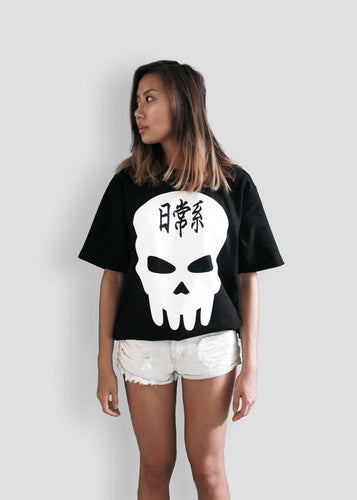 QURO Apocalypse Izzy's Convertible Long Line Skull Tee Shirt T-Shirt Version Model Shoot Front
