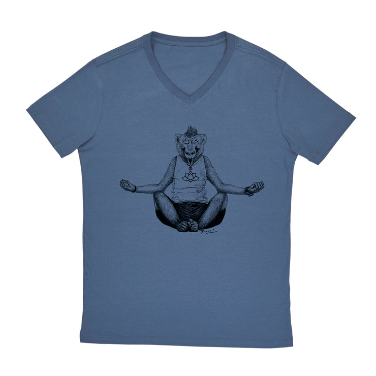 Comfort Cotton Men's V-neck T-shirt - Monkey Yoga