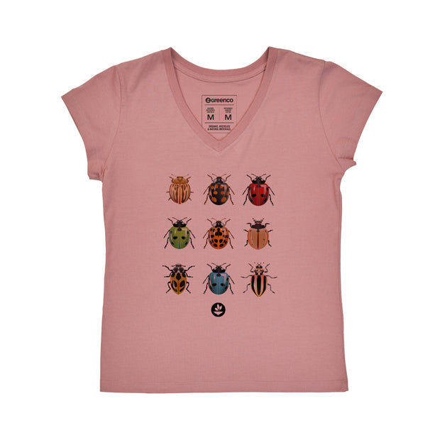 Comfort Cotton Women's V-neck T-shirt - Ladybugs