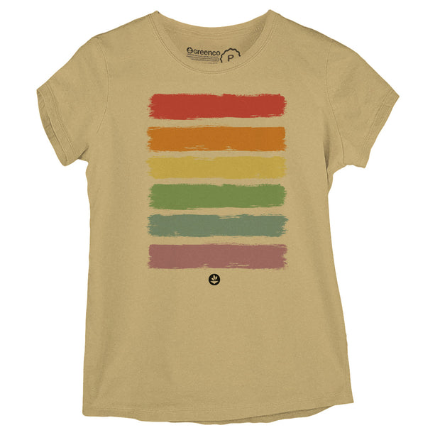 Sustainable Cotton Women's T-Shirt - Brush Rainbow