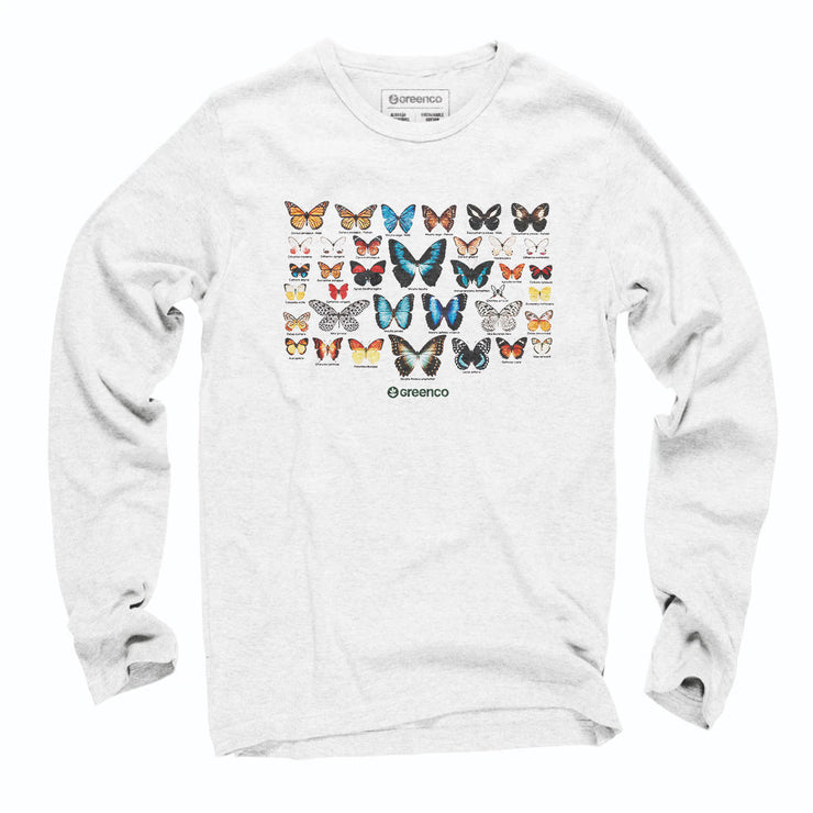 Sustainable Cotton Long Sleeve T-Shirt - Butterflies