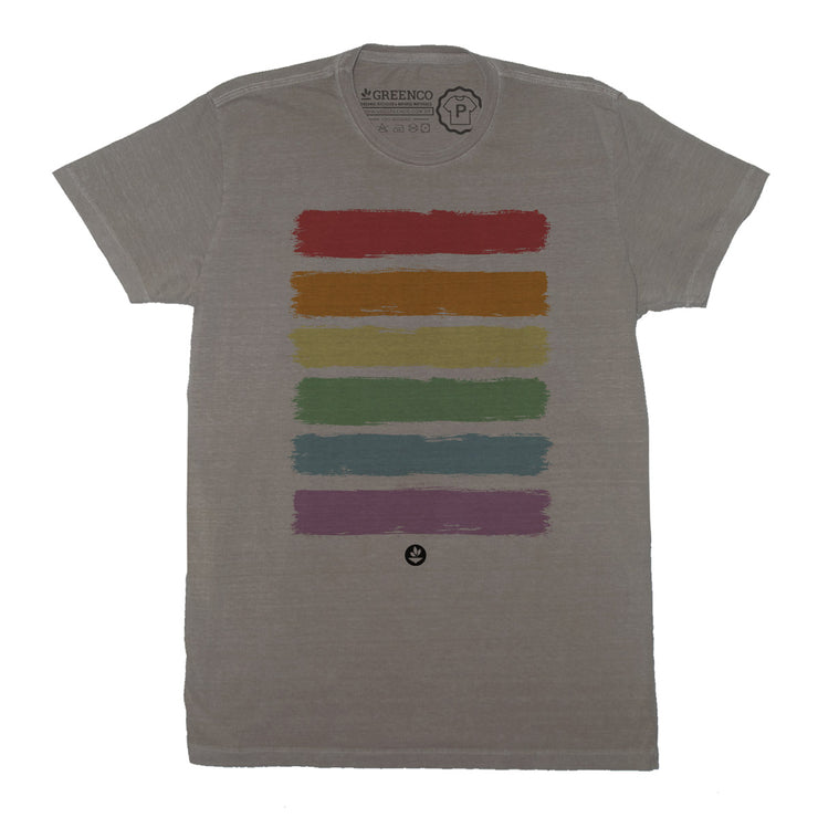 Sustainable Cotton Men's T-Shirt - Brush Rainbow