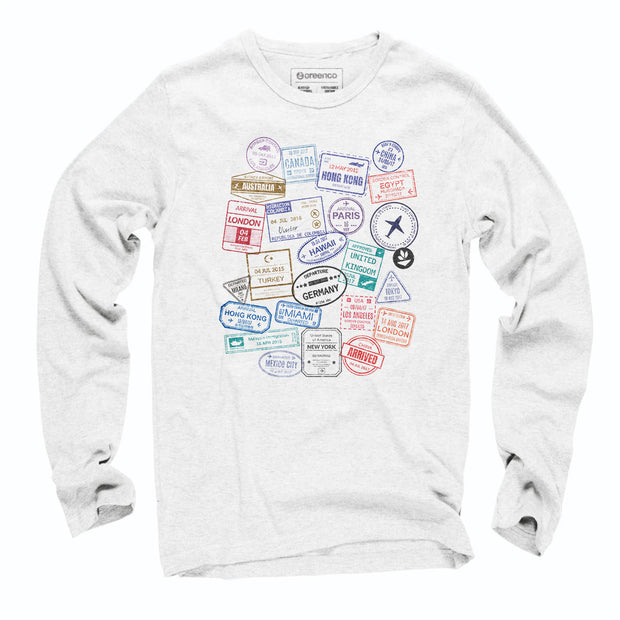 Sustainable Cotton Long Sleeve T-Shirt - Passport Stamps