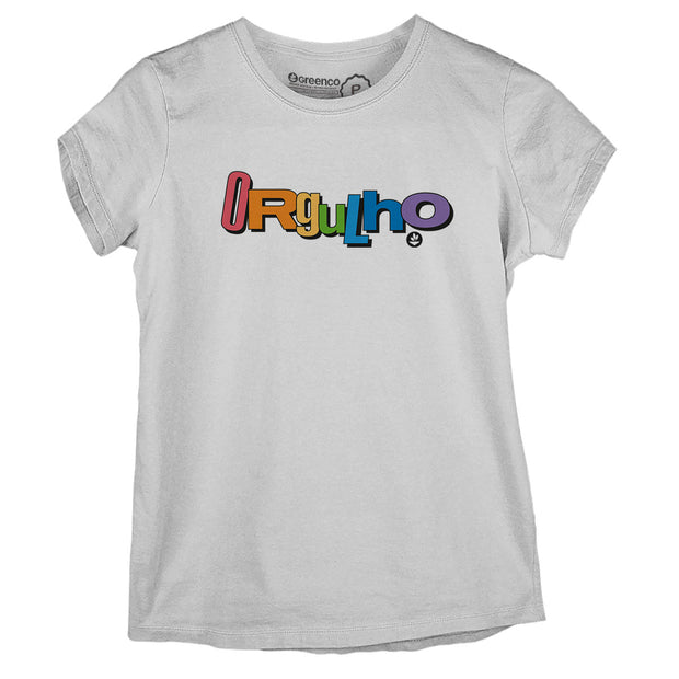 Sustainable Cotton Women's T-Shirt - Orgulho Lettering