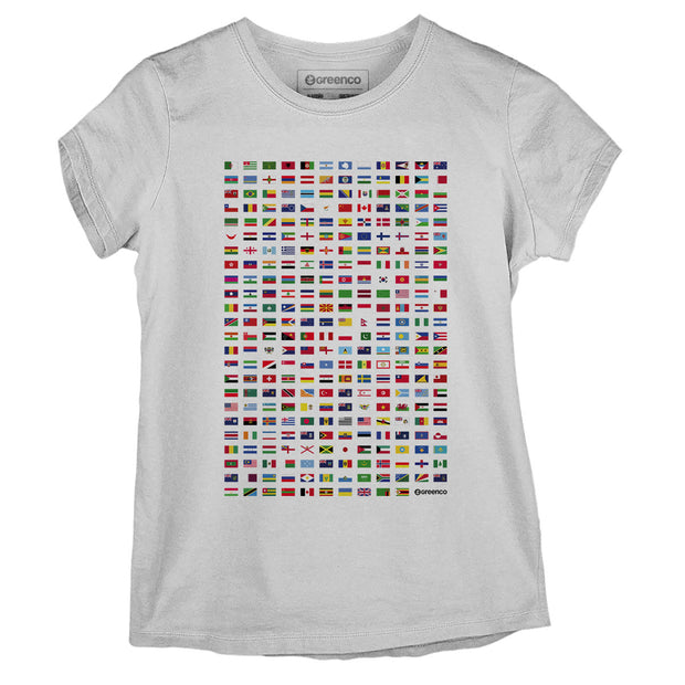 Sustainable Cotton Women's T-Shirt - World Flags