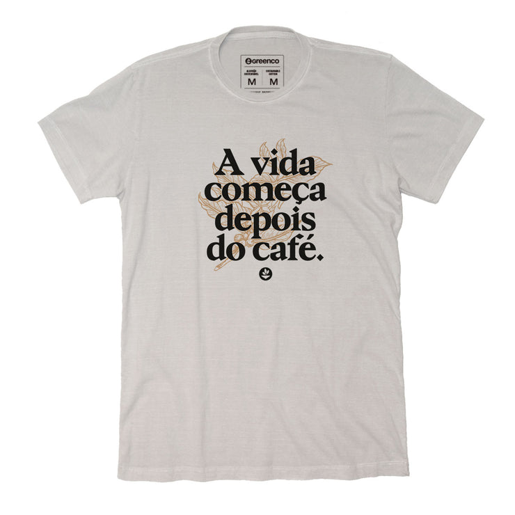 Sustainable Cotton Men's T-Shirt - A vida começa depois do café 2