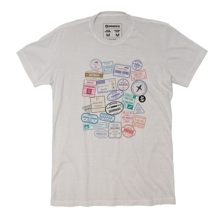 Sustainable Cotton Men's T-Shirt - Passport Stamps