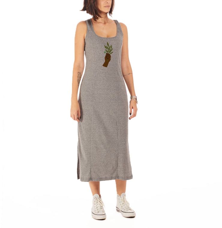 Recycled Polyester (PET) Midi Dress - Leaf hand