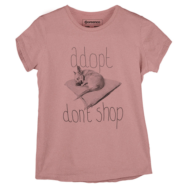 Sustainable Cotton Women's T-Shirt -  Adopt Don't Shop - RK