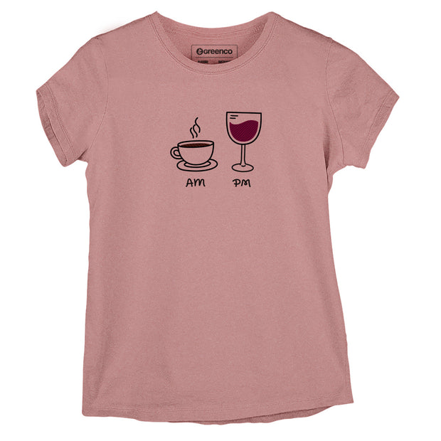 Sustainable Cotton Women's T-Shirt - AM PM - Wine