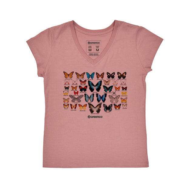 Comfort Cotton Women's V-neck T-shirt - Butterflies