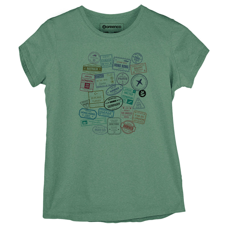 Sustainable Cotton Women's T-Shirt - Passport Stamps
