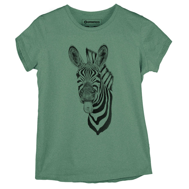Sustainable Cotton Women's T-Shirt - Zebra Love - RK