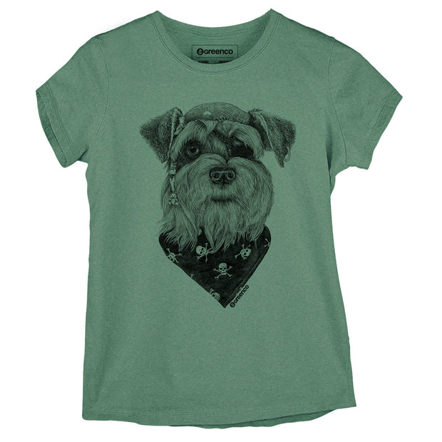 Sustainable Cotton Women's T-Shirt -  Pirate Schnauzer - RK