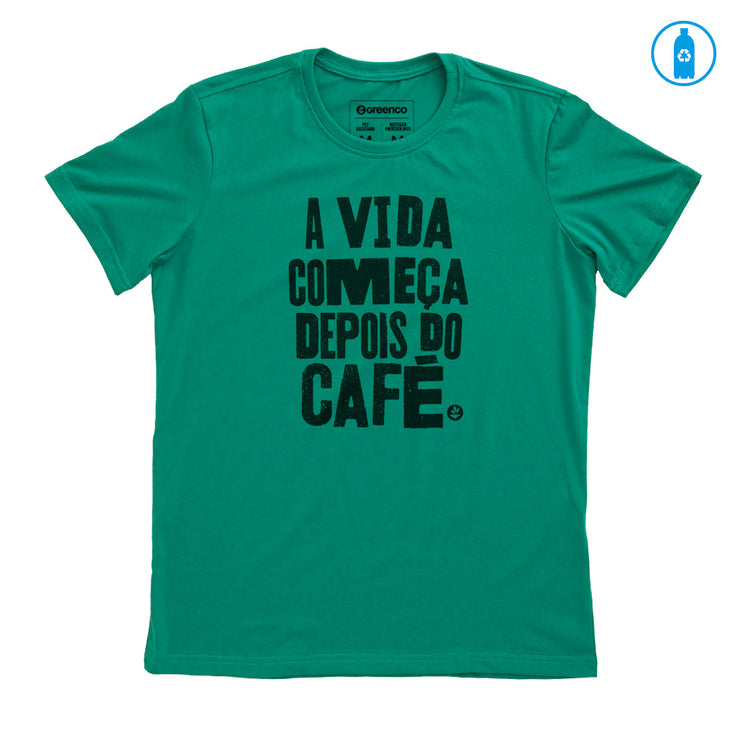 Recycled Polyester (PET) Men's T-Shirt - A vida começa depois do café 1