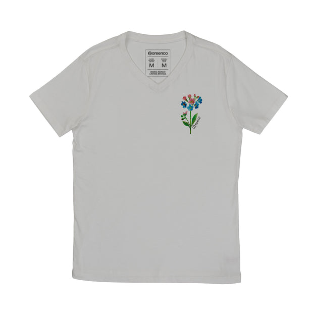 Comfort Cotton Men's V-neck T-shirt - Watercolor Flower