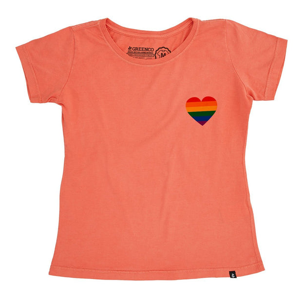 Organic Cotton Women's T-Shirt - Pride Heart Pocket Logo