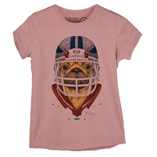 Sustainable Cotton Women's T-Shirt - American Football Pug - RK
