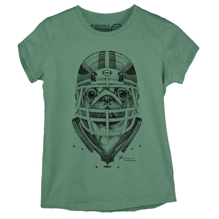 Sustainable Cotton Women's T-Shirt - American Football Pug PB - RK