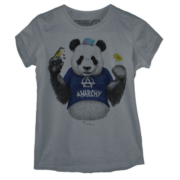 Sustainable Cotton Women's T-Shirt - Punk Panda Blue - RK