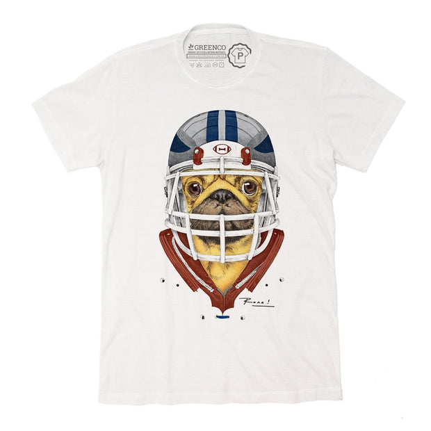 Sustainable Cotton Men's T-Shirt - American Football Pug - RK