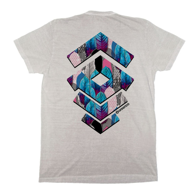 Sustainable Cotton Men's T-Shirt - Geometric Leaves