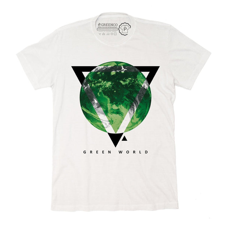 Sustainable Cotton Men's T-Shirt - Green World