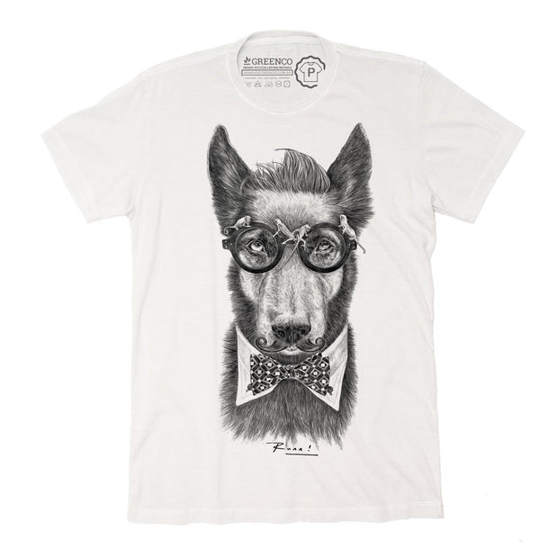 Sustainable Cotton Men's T-Shirt - Hipster Dog PB - RK