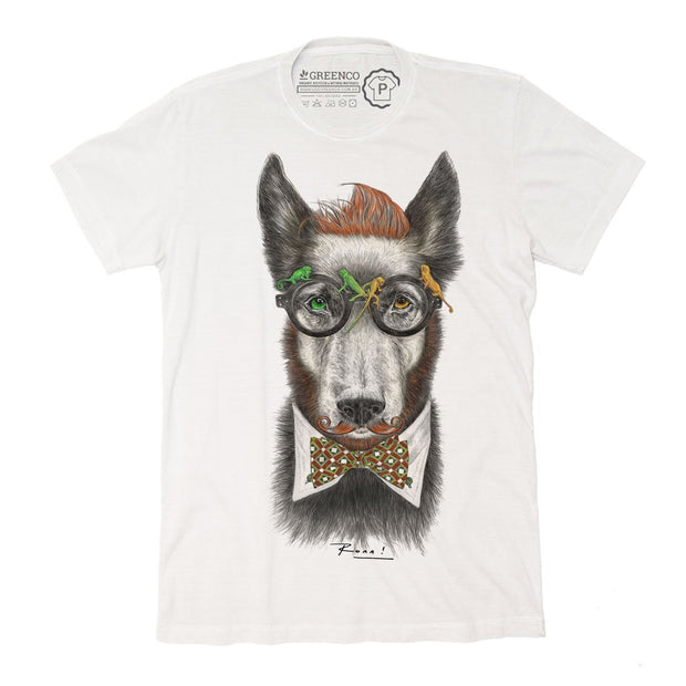 Sustainable Cotton Men's T-Shirt - Hipster Dog - RK