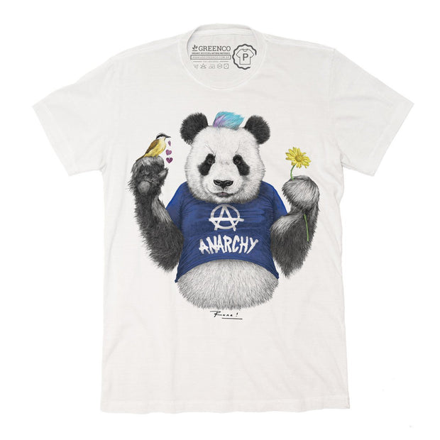 Sustainable Cotton Men's T-Shirt - Punk Panda Blue - RK