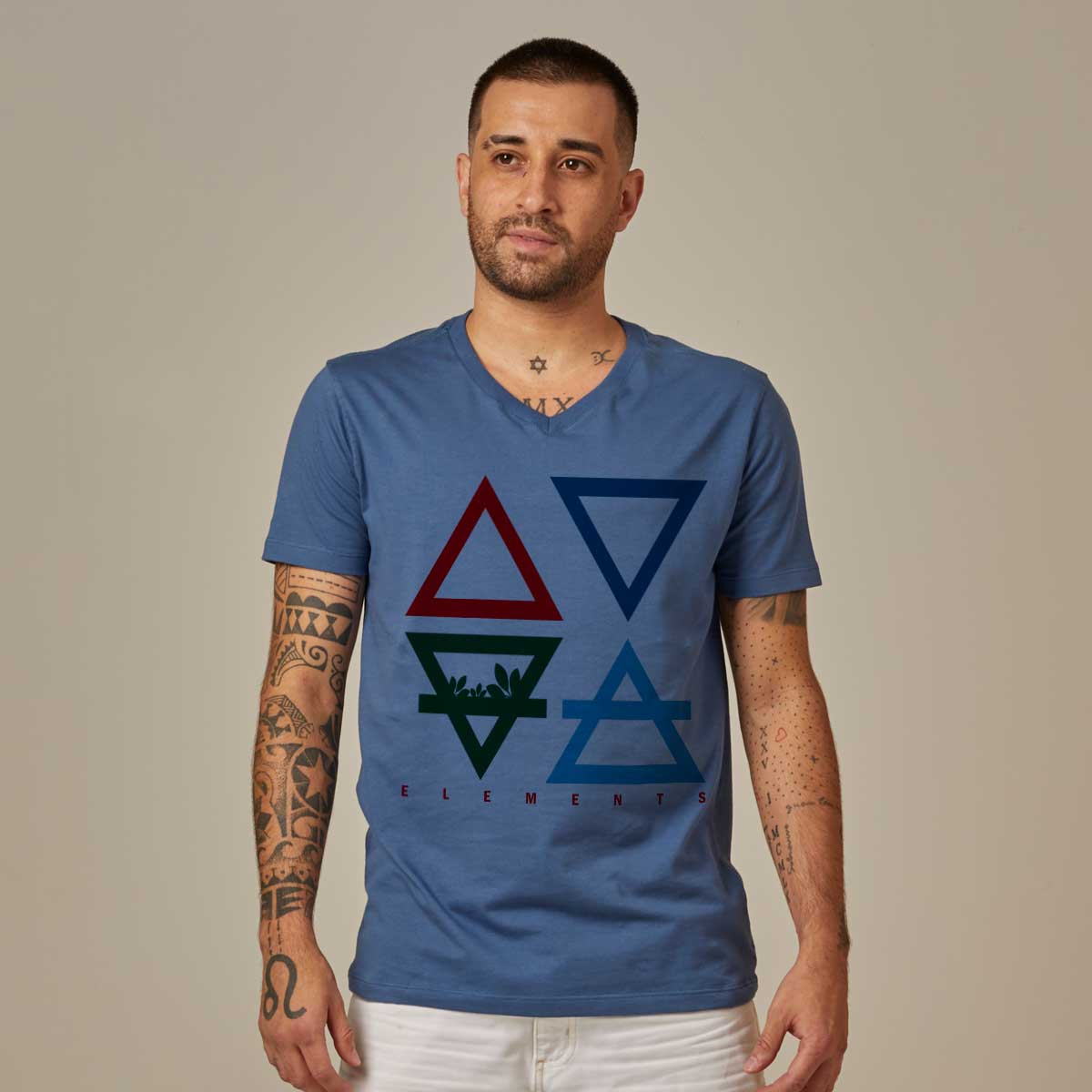 Comfort Cotton Men's V-neck T-shirt - 4 Elements
