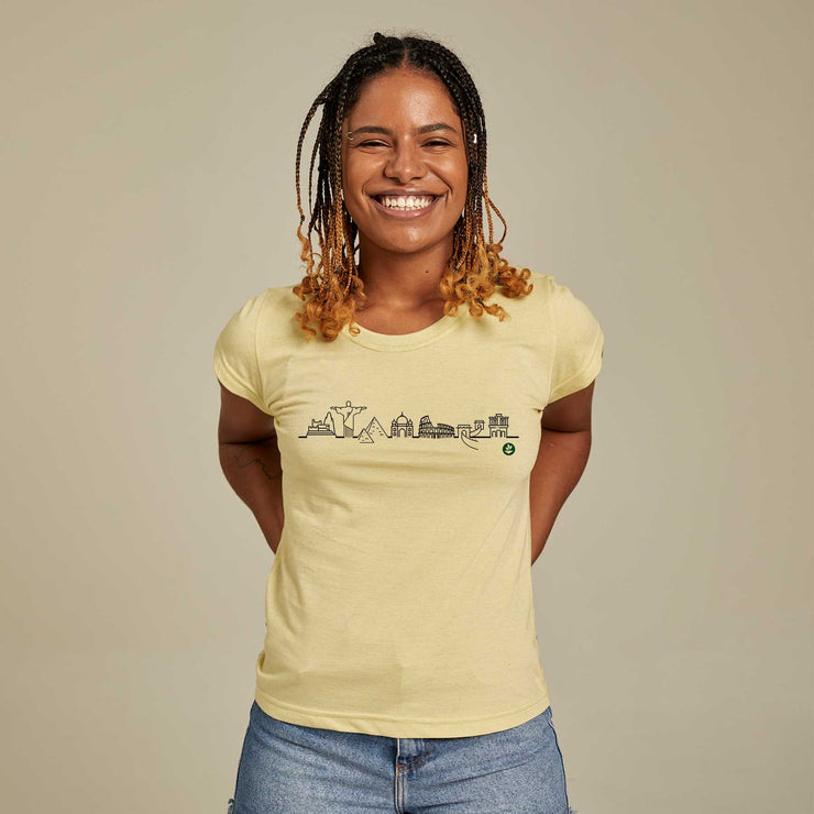 Recycled Polyester + Linen Women's T-shirt - 7 Wonders