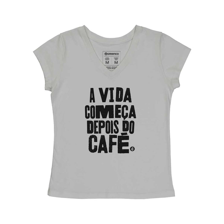 Comfort Cotton Women's V-neck T-shirt - A Vida Começa Depois do Café