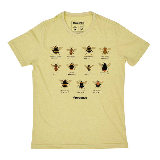 Recycled Polyester + Linen Men's T-shirt - Bees