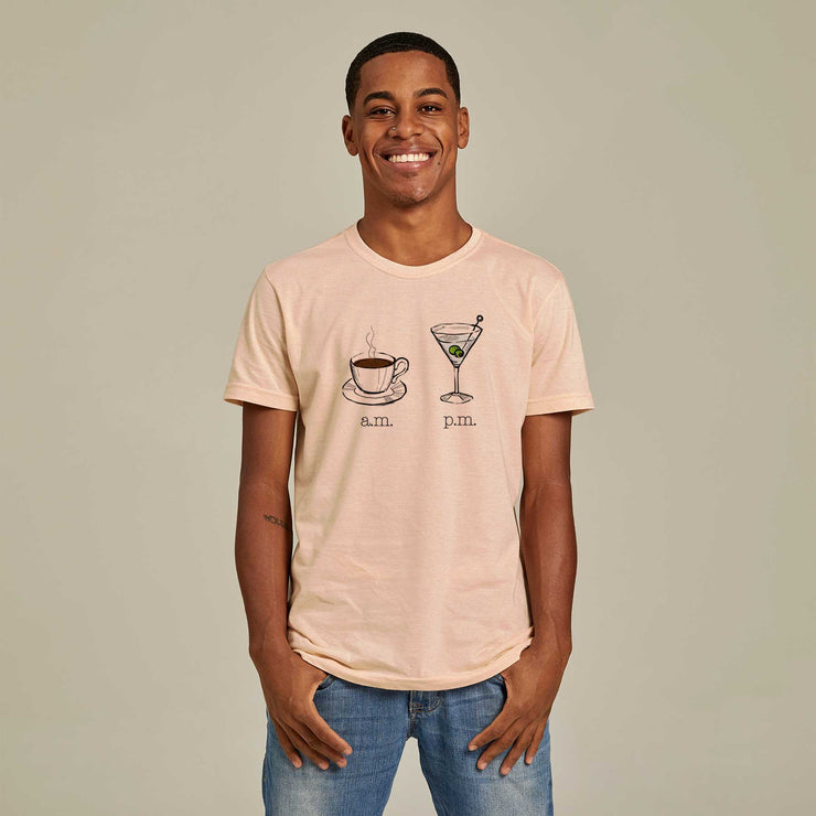 Recycled Polyester + Linen Men's T-shirt - AM PM - Martini