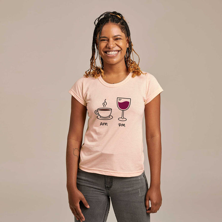 Recycled Polyester + Linen Women's T-shirt - AM PM - Wine