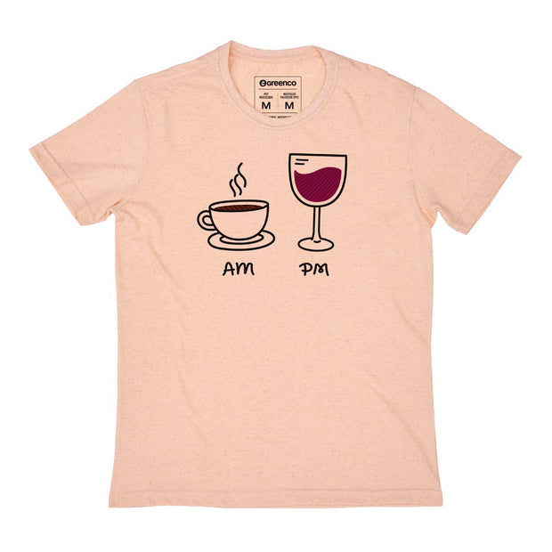 Recycled Polyester + Linen Men's T-shirt - AM PM - Wine
