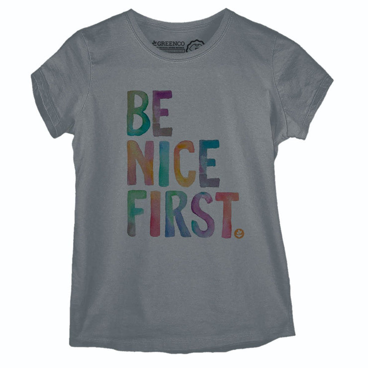 Sustainable Cotton Women's T-Shirt - Be Nice First