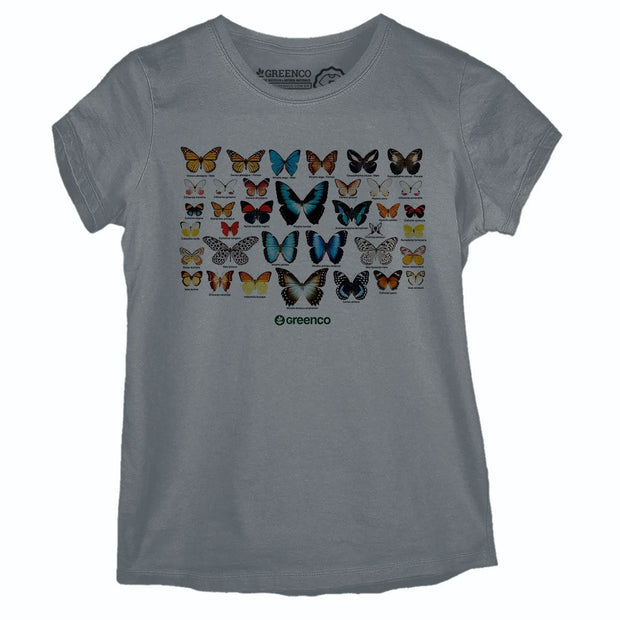 Sustainable Cotton Women's T-Shirt - Butterflies