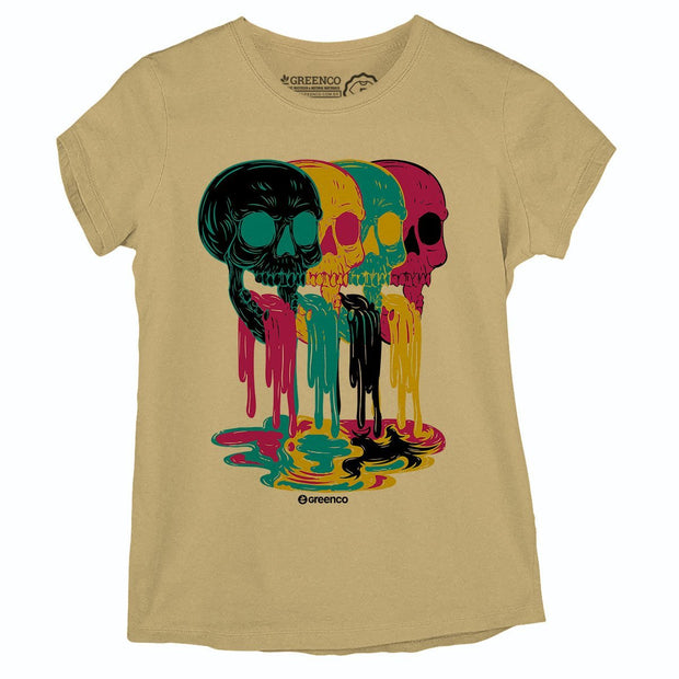 Sustainable Cotton Women's T-Shirt - Colored Skulls