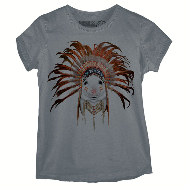 Sustainable Cotton Women's T-Shirt - Orange Feather Mouse - RK
