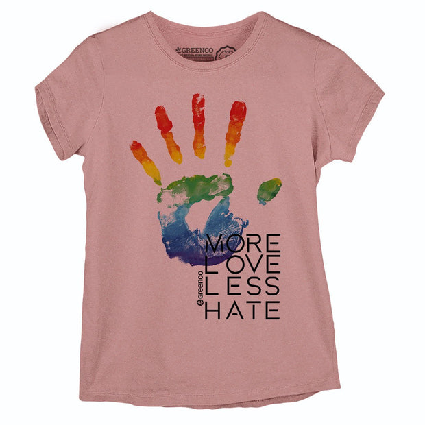 Sustainable Cotton Women's T-Shirt - More Love Less Hate