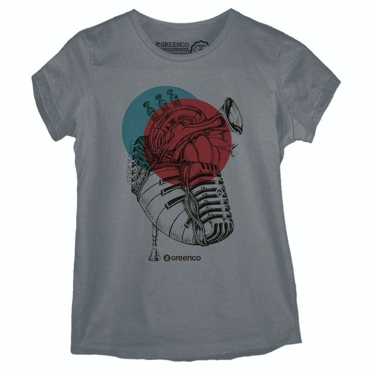 Sustainable Cotton Women's T-Shirt - Music Heart